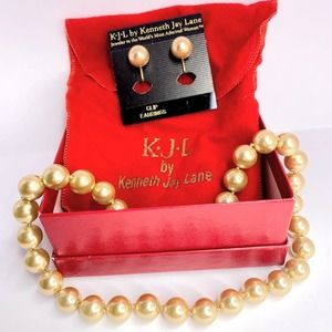 KJL Gold Tone Pearl Necklace and Clip On Earrings
